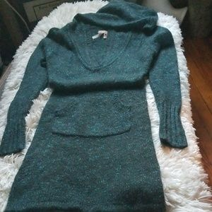 Women's Buffalo Hooded Sweater Dress Size M